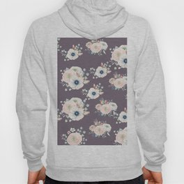 Dog Rose Pattern  Mauve Hoody