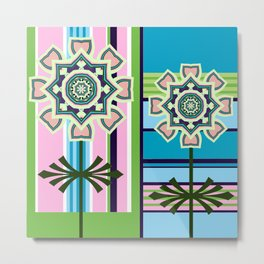 Geometric retro patterns and fantasy flowers in soft colors Metal Print