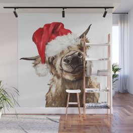 Christmas Highland Cow Wall Mural