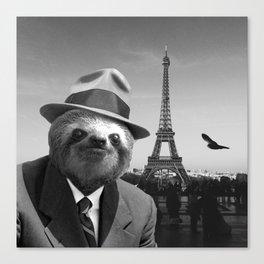 Gentleman Sloth in Paris Canvas Print