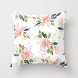 Large Watercolor Floral Pattern Throw Pillow