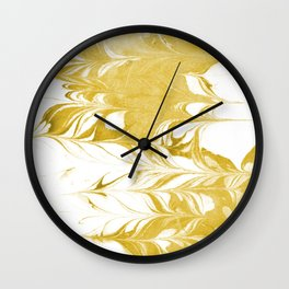 Suminagashi 3 gold and white marble spilled ink ocean swirl watercolor painting Wall Clock