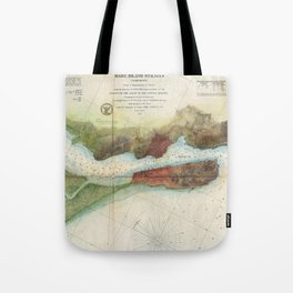 Vintage Mare Island Strait and Vallejo Map (1857) Tote Bag