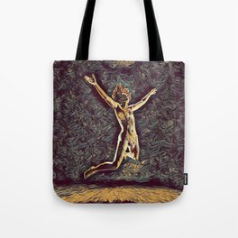 1294s-ZAC Dancer in Midair Leap Rendered in the Style of Antonio Bravo Tote Bag