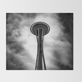 Space Needle Black and white Throw Blanket