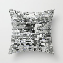 An Elite Club of Billions (P/D3 Glitch Collage Studies) Throw Pillow
