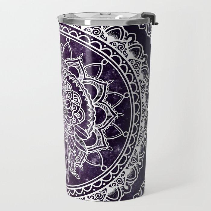 Violet Flower Mandala Travel Mug