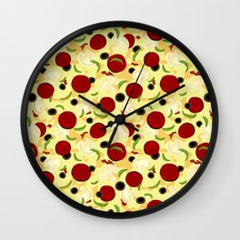 Pizza Toppings Pattern Wall Clock