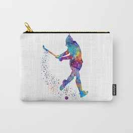 Girl Field Hockey Art Colorful Watercolor Artwork Sports Gift Carry-All Pouch