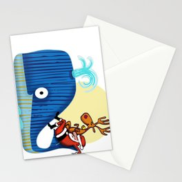 SANTA CLAUS LOVES WHALES Stationery Cards