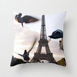 Paris Eiffel tower and flight of birds Throw Pillow