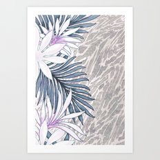 Denim Blooms Forever Art Print