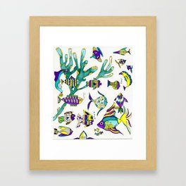 Tropical Fish Watercolor and Ink Illustration Framed Art Print