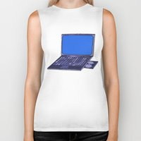 laptop Biker Tanks featuring  Laptop  by Sofia Youshi