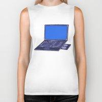 laptop Biker Tanks featuring  Laptop  by Sofia Youshi
