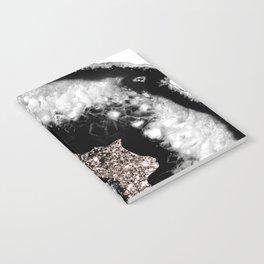Gray Black White Agate Glitter Glamor #5 #gem #decor #art #society6 Notebook