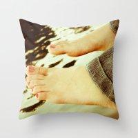 feet Throw Pillows featuring Feet by Upperleft Studios