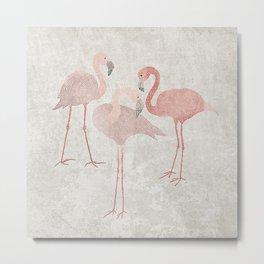 Pink flamingos on sand beige Metal Print