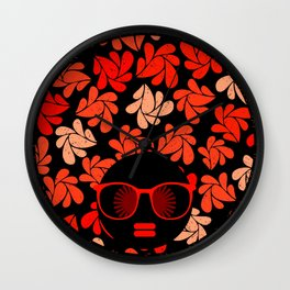 Afro Diva : Coral Red Wall Clock