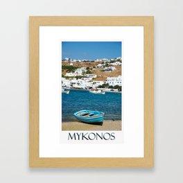 Blue Boat on Mykonos Island Greece Framed Art Print
