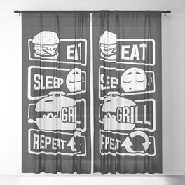 Eat Sleep Grill Repeat - BBQ Barbecue Griller Sheer Curtain