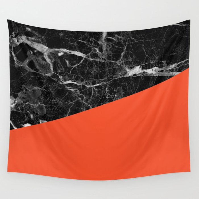 Black Marble and Flame Color Wall Tapestry