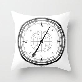 Textured Compass on White Throw Pillow