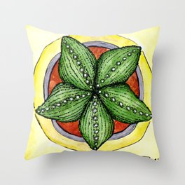 Astrophytum cactus star cacti plant watercolour illustration Throw Pillow