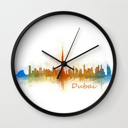 Dubai, emirates, City Cityscape Skyline watercolor art v3 Wall Clock