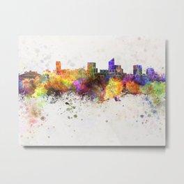 Wichita skyline in watercolor background Metal Print