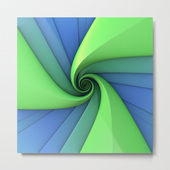 Spiral in Blues and Greens Metal Print