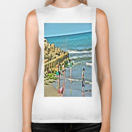 Day At the Beach - Photo rendered as painting Biker Tank
