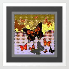 Abstracted Black & Orange Monarch Butterflies Grey Art Art Print