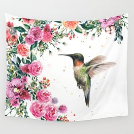 Hummingbird and Flowers Watercolor Animals Wall Tapestry
