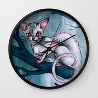 cheshire cat Wall Clocks featuring Cheshire Cat by Black Fury