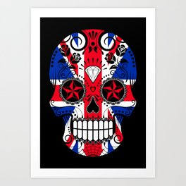 Sugar Skull with Roses and the Union Jack Flag Art Print
