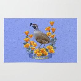 California State Bird Quail and Golden Poppy Rug