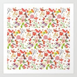 Red Repeat Gardening Art Print