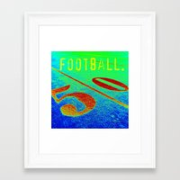 football Framed Art Prints featuring FOOTBALL. by TMCdesigns