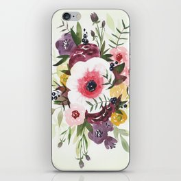 Burgundy Blush Watercolor Floral iPhone Skin