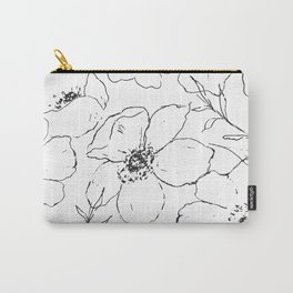 Floral Simplicity - Black & White Carry-All Pouch
