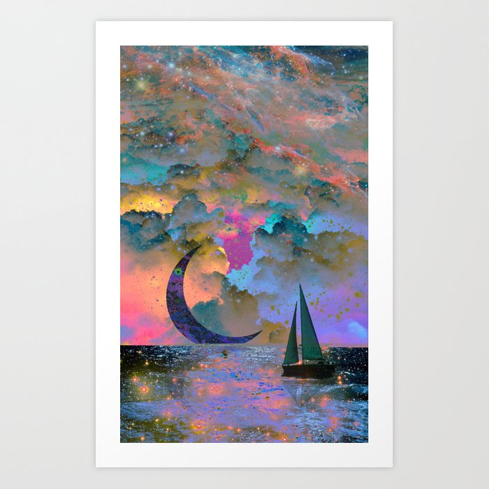 Moonset Art Print