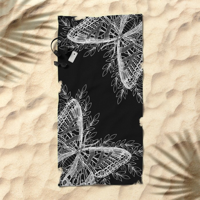 Black and White Butterfly Design Beach Towel