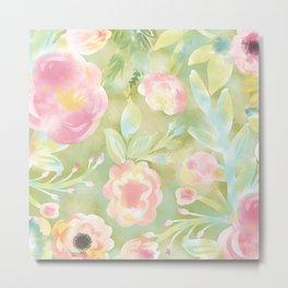 Green Watercolor Floral Pattern Metal Print