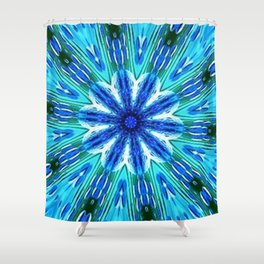 Teal Blue Floral Kaleidoscope Shower Curtain