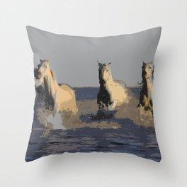 Horses of the Sea - Wild Horses Throw Pillow