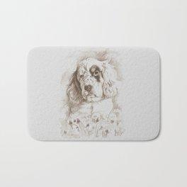 English Setter puppy Monochrome sgraffito Bath Mat