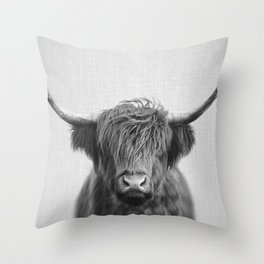 Highland Cow - Black & White Deko-Kissen