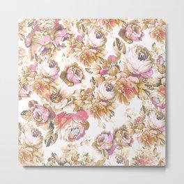 Shabby vintage rose pink brown bohemian floral Metal Print