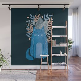 Cat and foliage - pastel blue and black Wall Mural